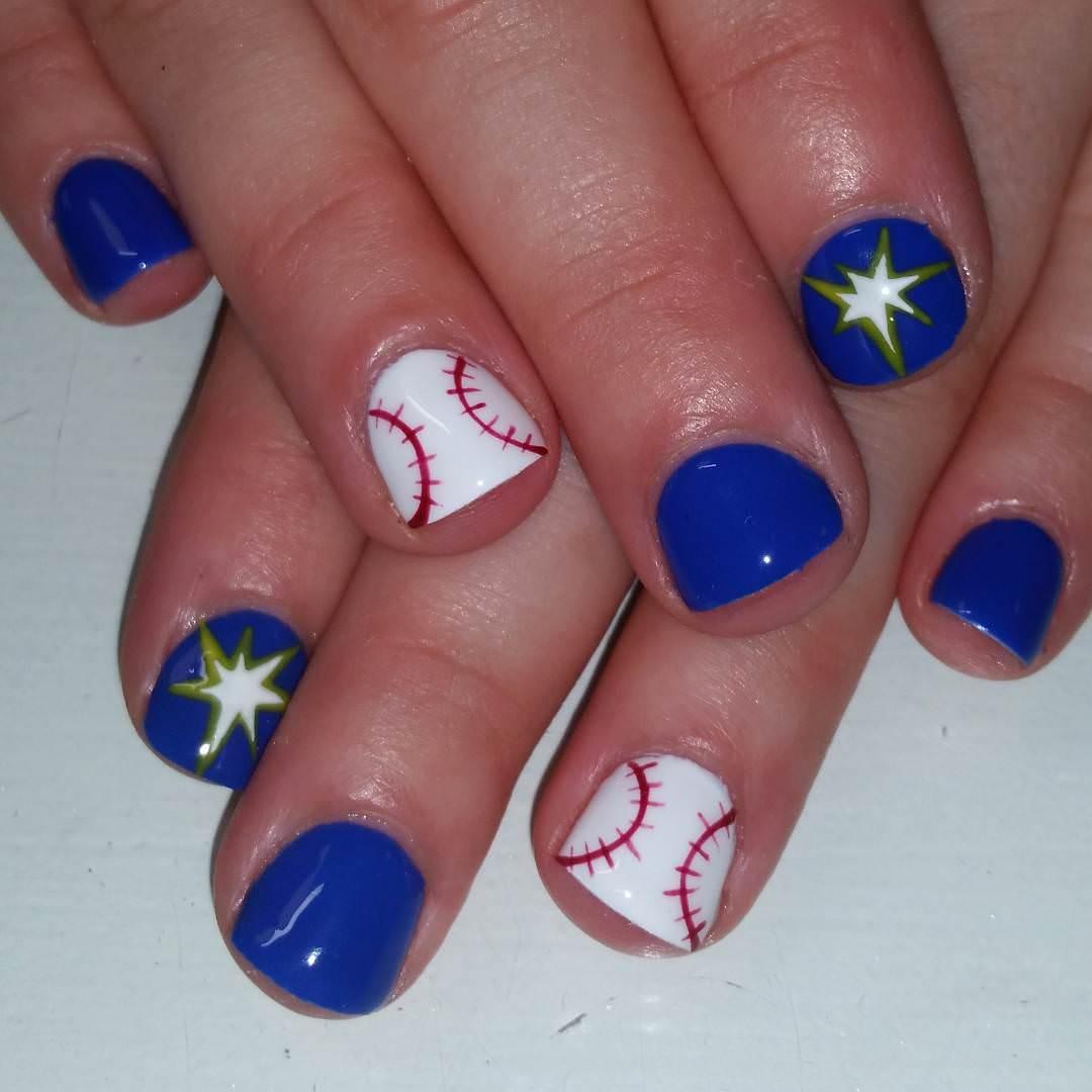 Star-Blue Baseball Nail Design