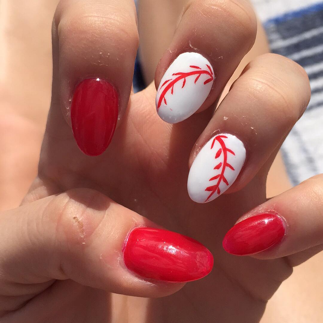 Dark Red Baseball Nail Design