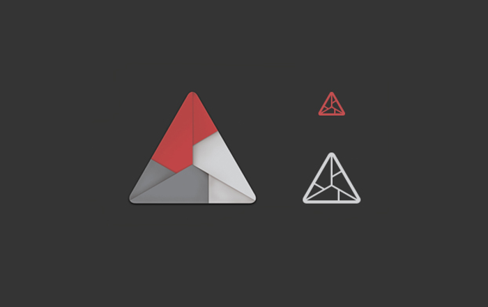 origami triangular logo design