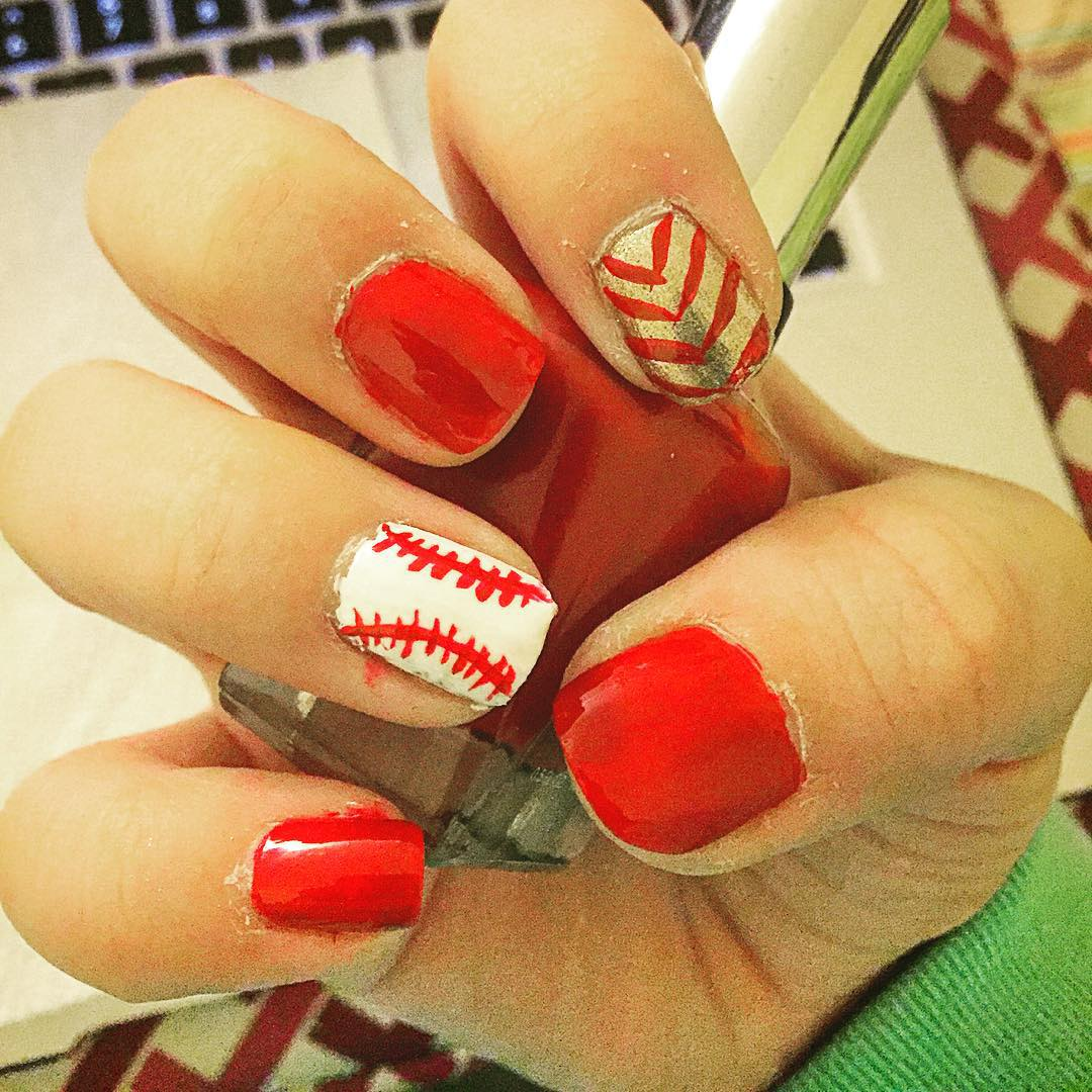 Orange Baseball Nail Design
