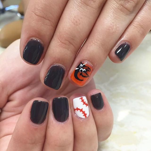 Cute Look Baseball Nail Design