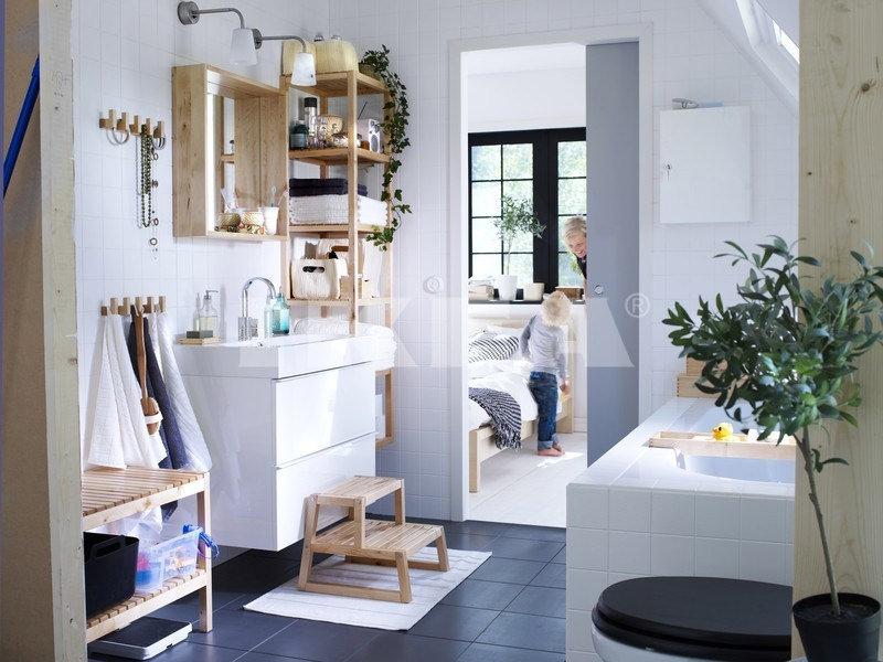 Bathroom Wooden Shelves Designs
