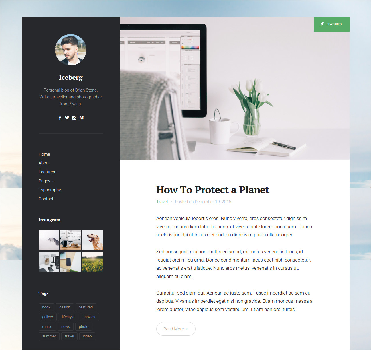 minimal personal content focused blog theme 39