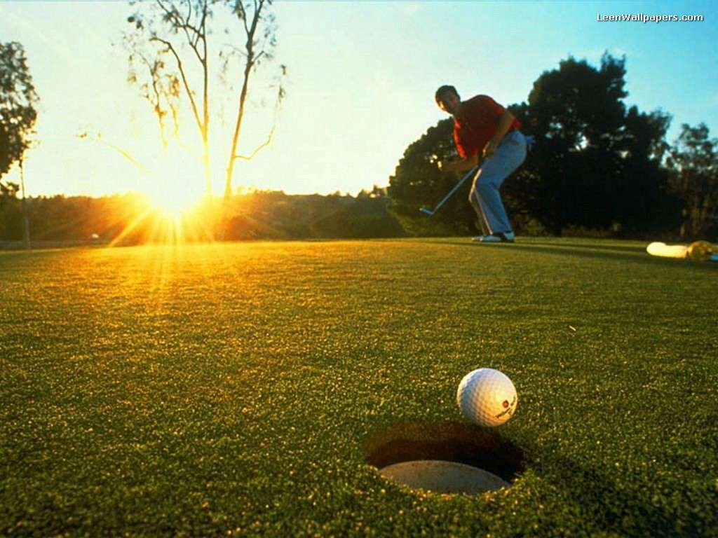 man with golf goal background