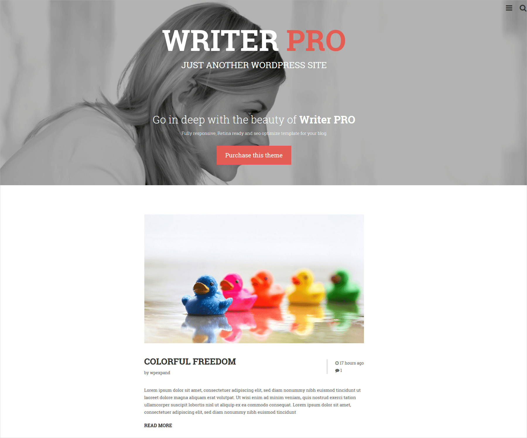 Writerpro Minimal Blog WP Theme