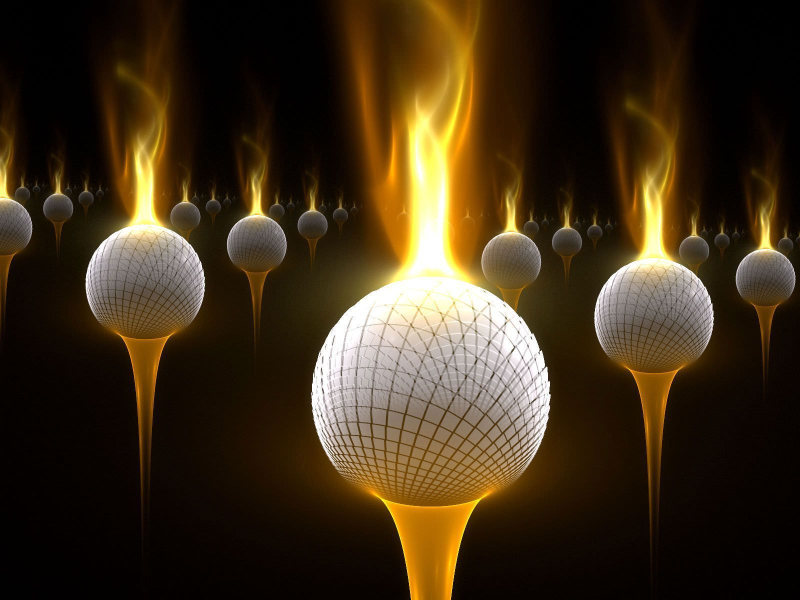 Fire Golf Balls Elegant Wallpaper
