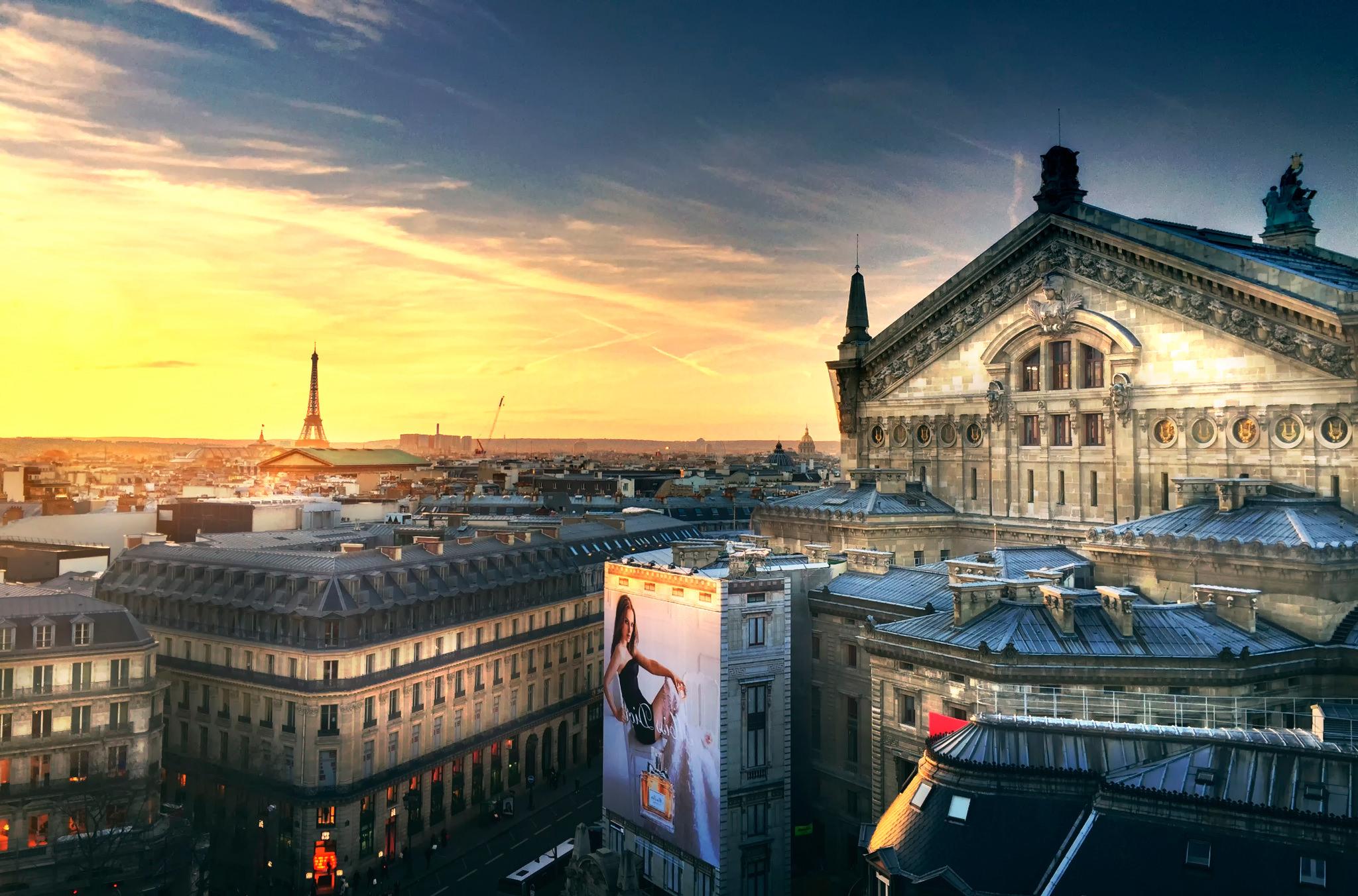 Opera Eiffel Tower Cityscape Classy Wallpaper
