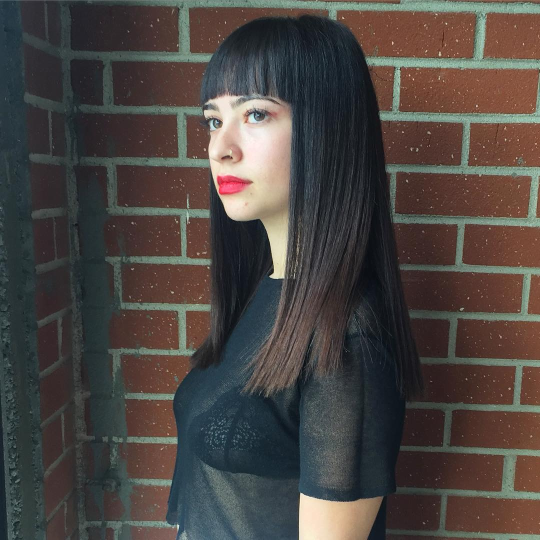 bangs blunt haircut for beautiful girl