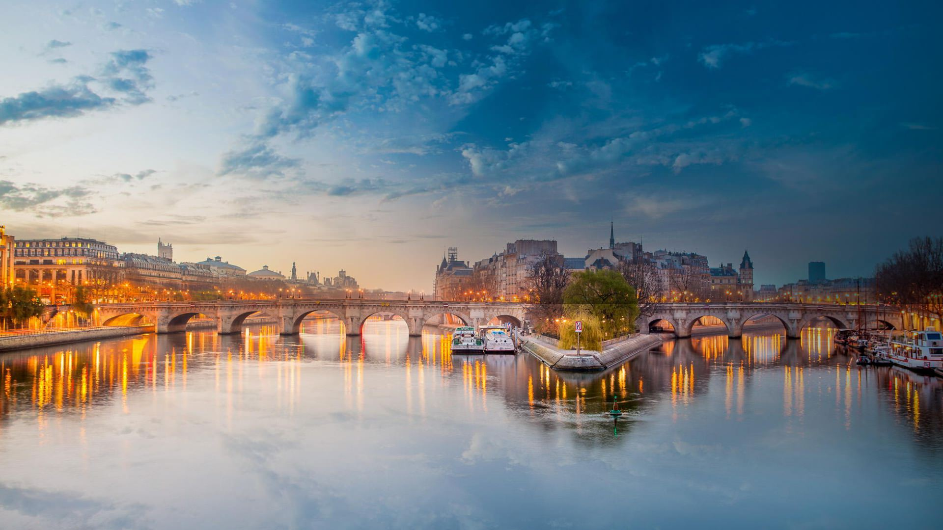 seine river bridge in france background