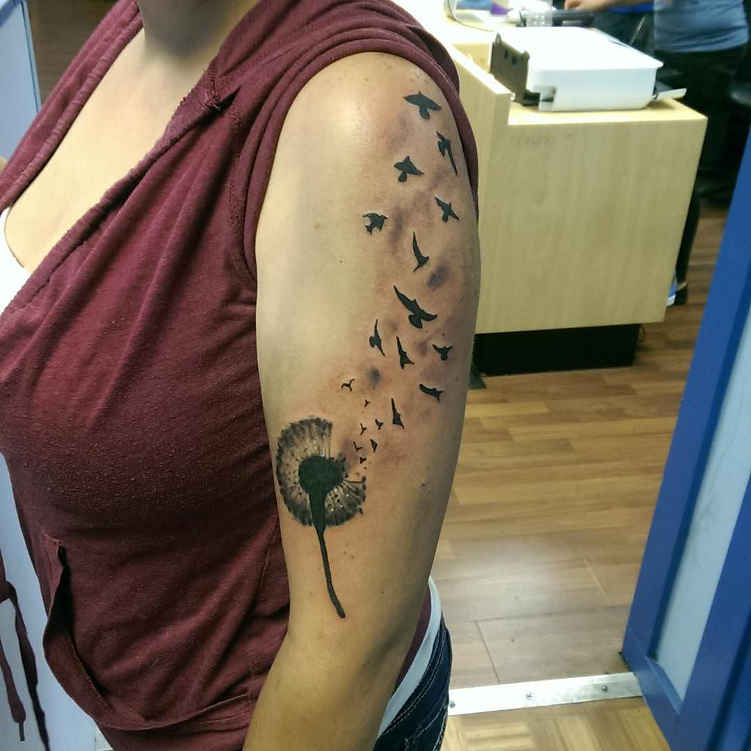 Birds Flying Dandelion Tattoo