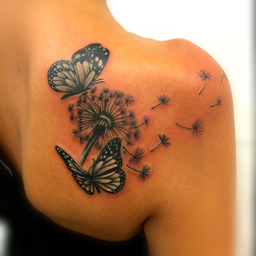 Butterfly Dandelion Tattoo