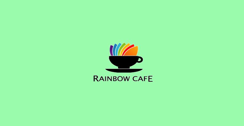 rainbow cafe logo design