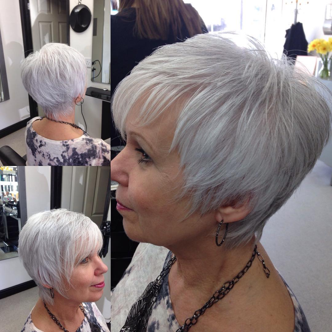 white short choppy haircut