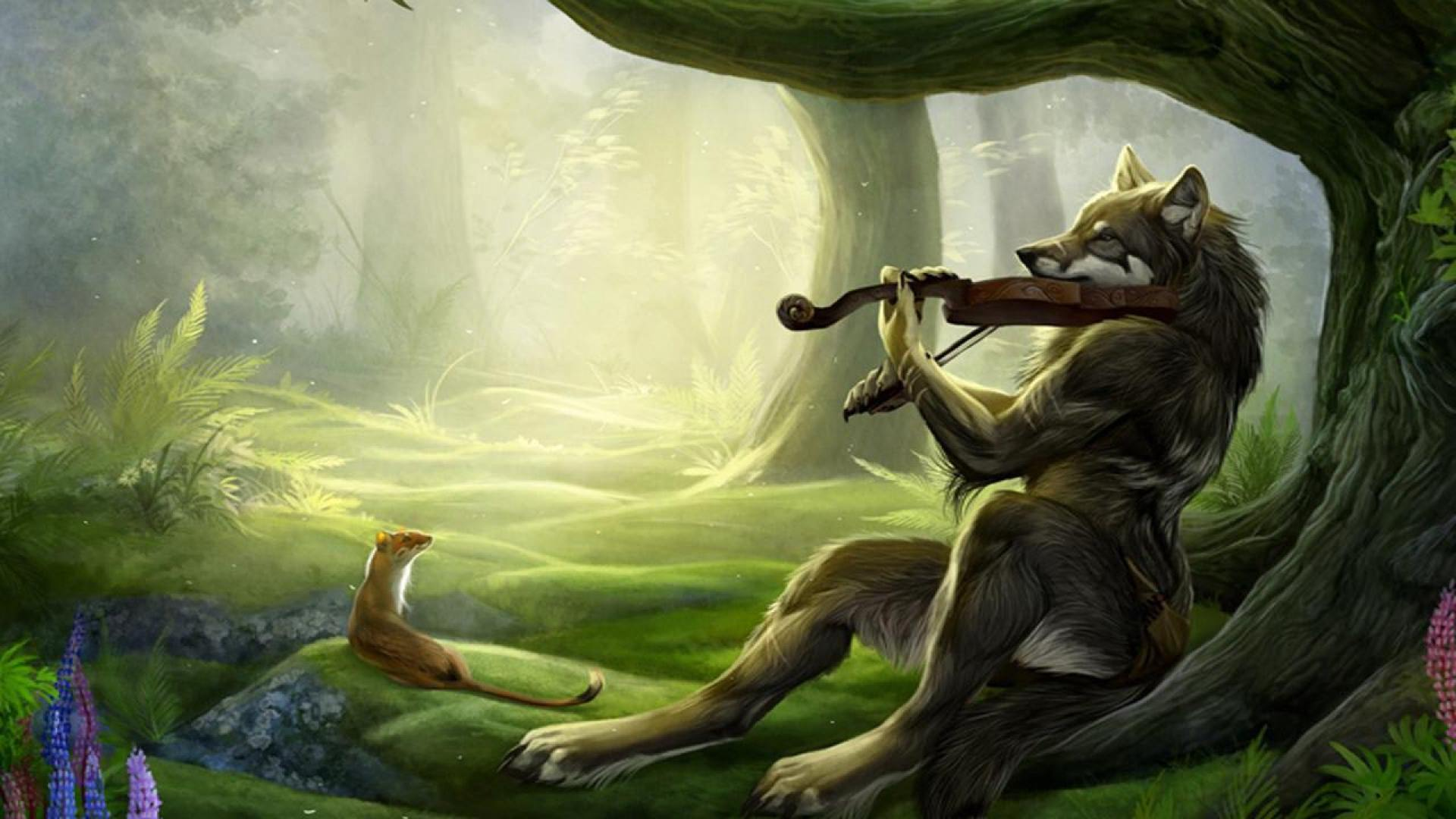 Wolf with Violin Music Wallpaper