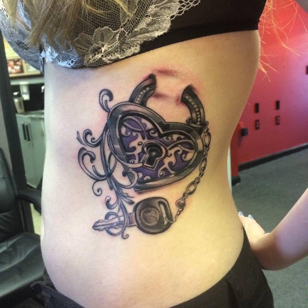 impressive lock key tattoo