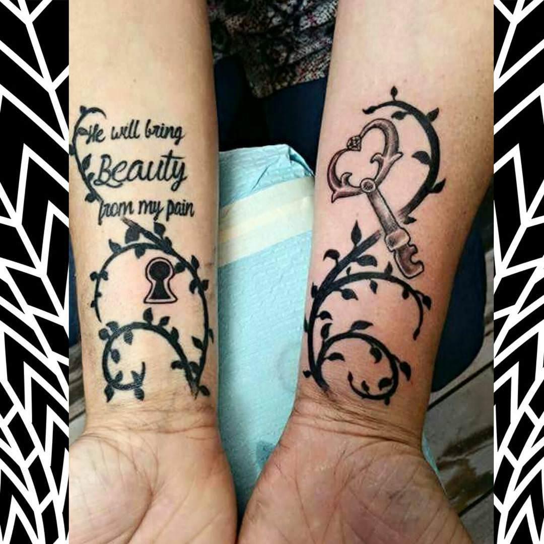 Dark Black Lock & Key Tattoo