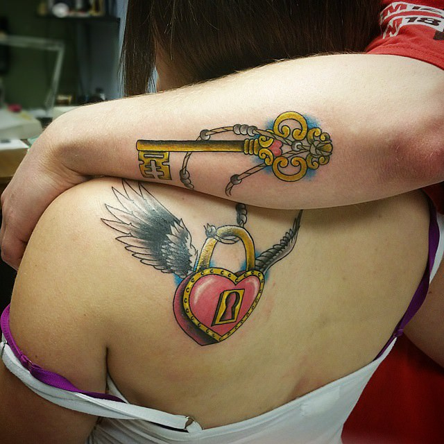 Multi Color Lock & Key Tattoo