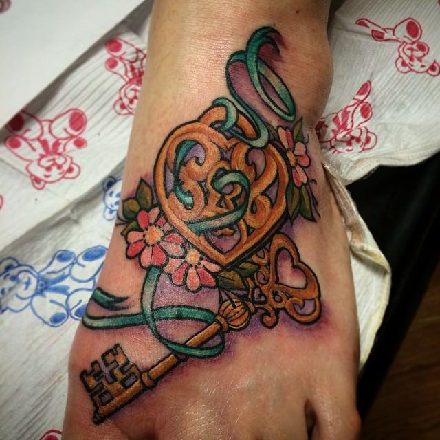 Unique Lock & Key Tattoo Design
