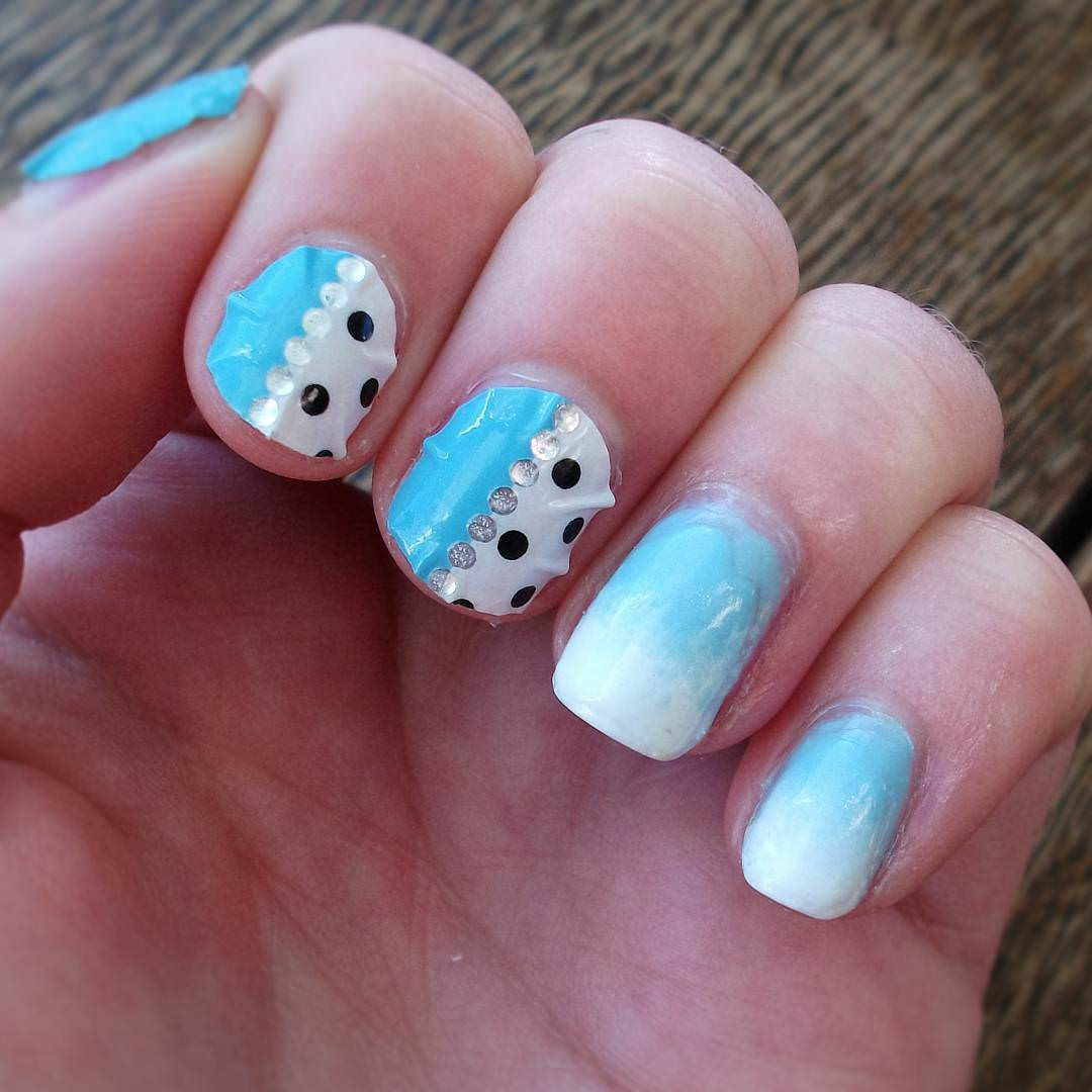 light blue and white nail design