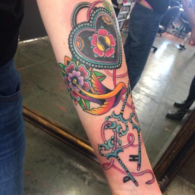 Trendy Lock & Key Tattoo