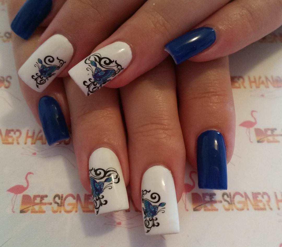 designed blue and white nails