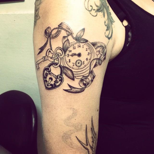 Simple & Stylish Lock Key Tattoo