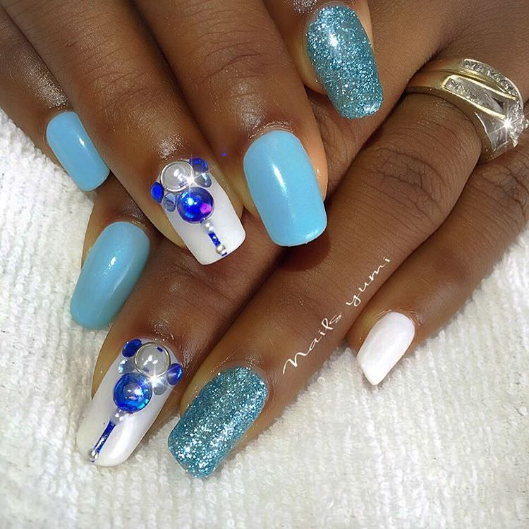 shining blue and white nail design