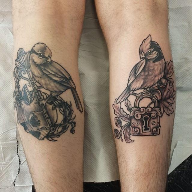 two birds lock key tattoo