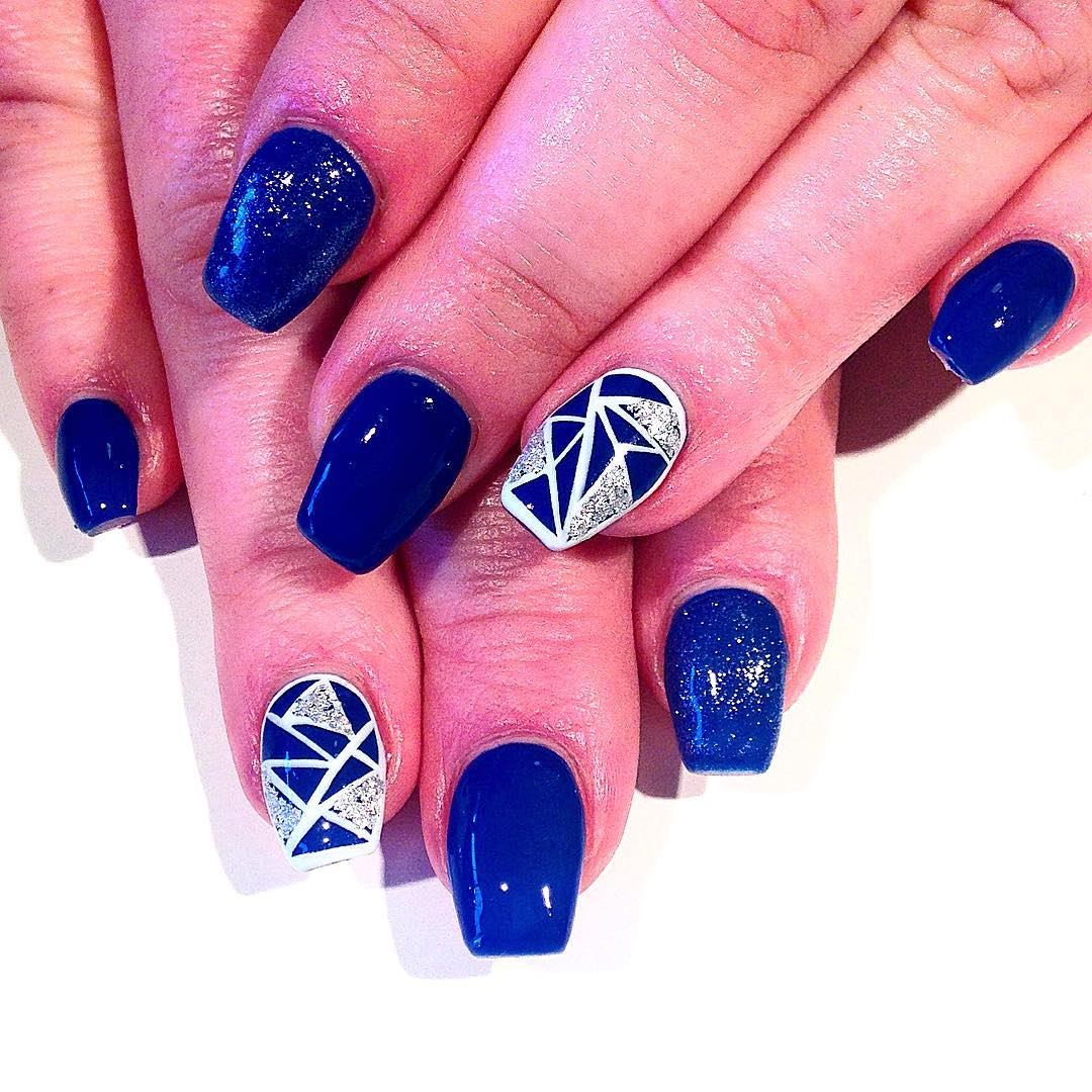 fabulous blue and white nails