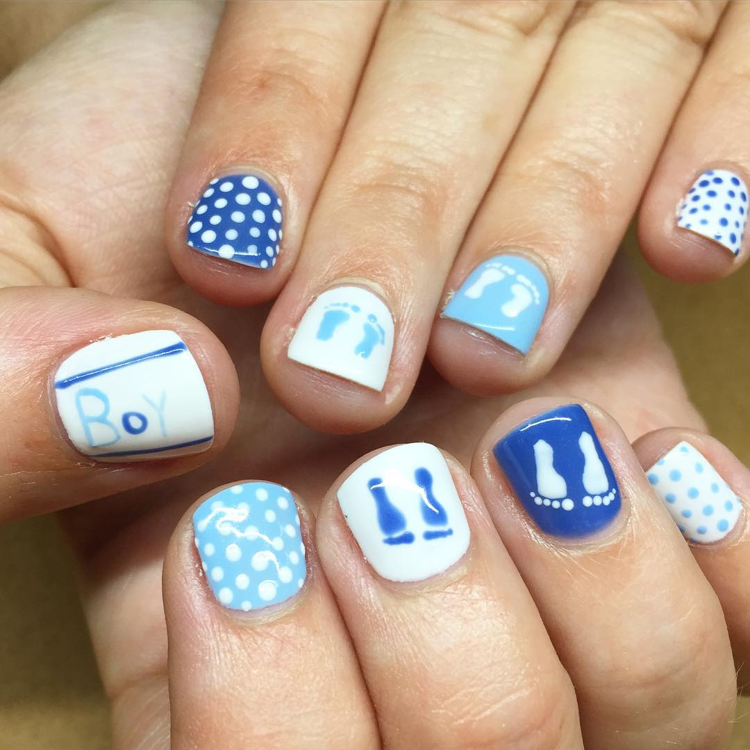 cute simple blue white nails