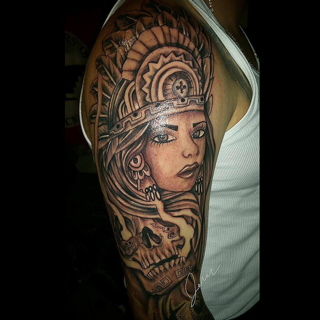 Women Face Aztec Tattoo