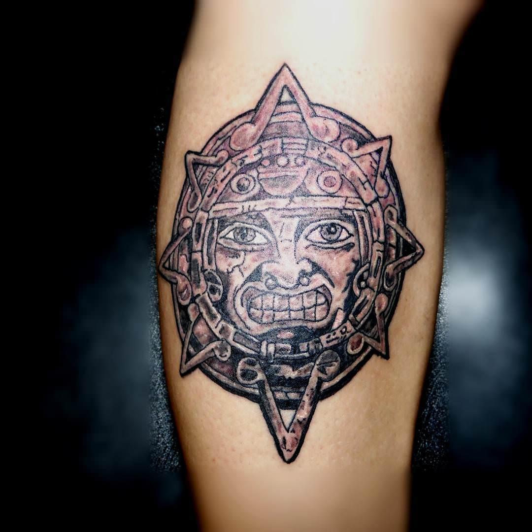 Creative Sun Aztec Tattoo Design