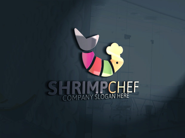Shrimp Chef Colorful Logo