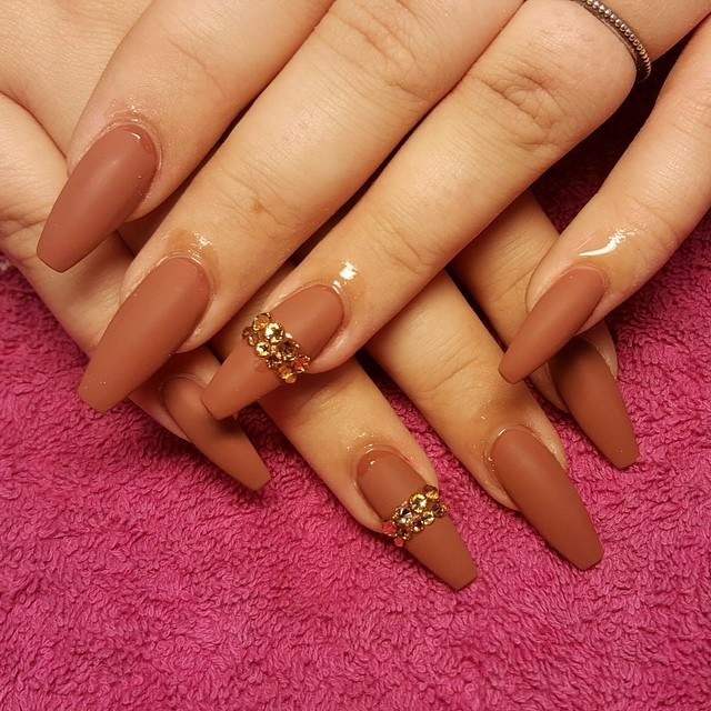 Sharp Brown Nail Design