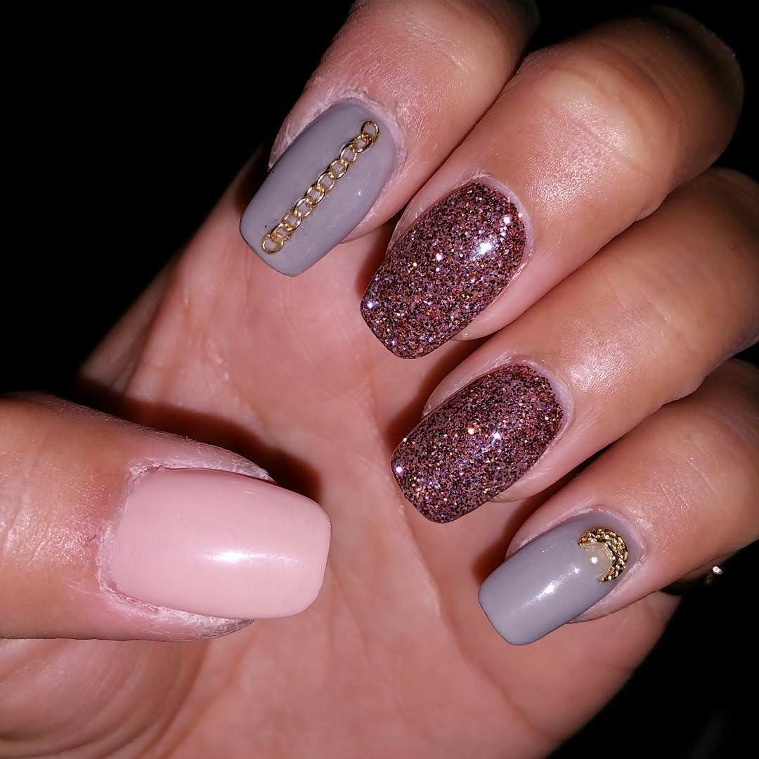 Glittering Brown Nail Design