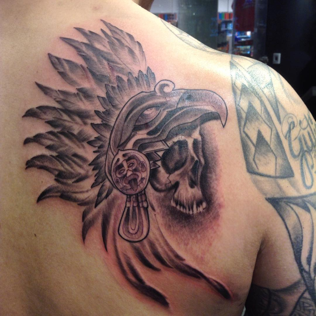 Skull Aztec Tattoo Design