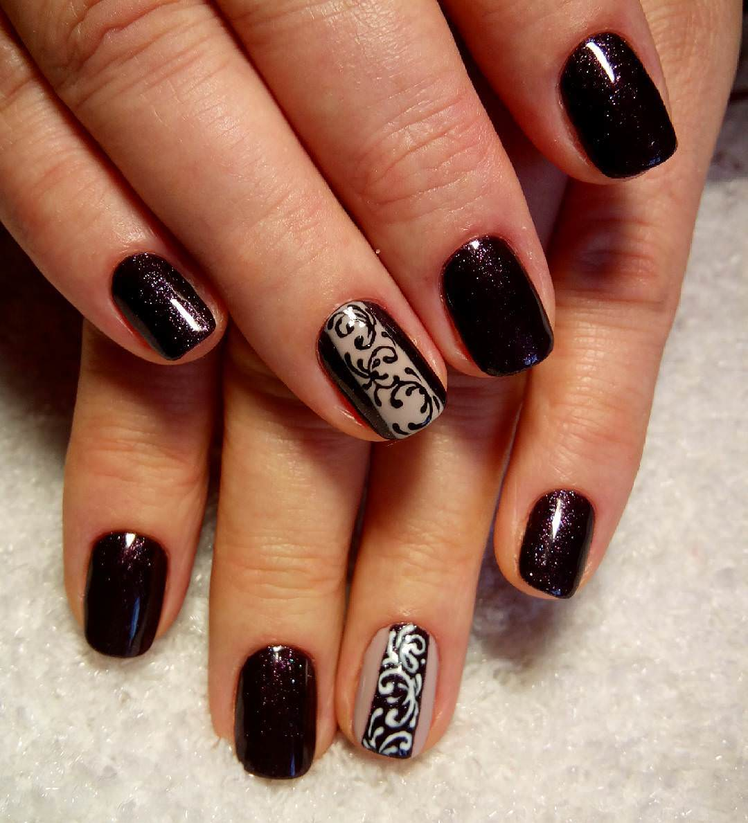 Fancy Brown Nail Design