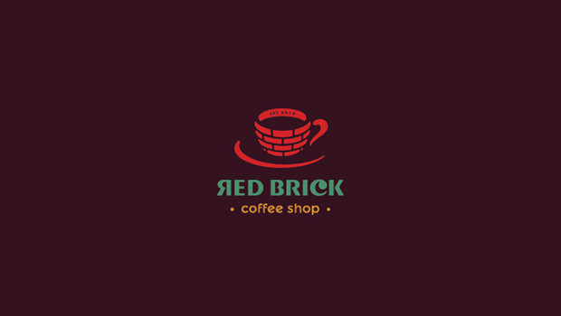 Red Brick Coffee Shop Logo