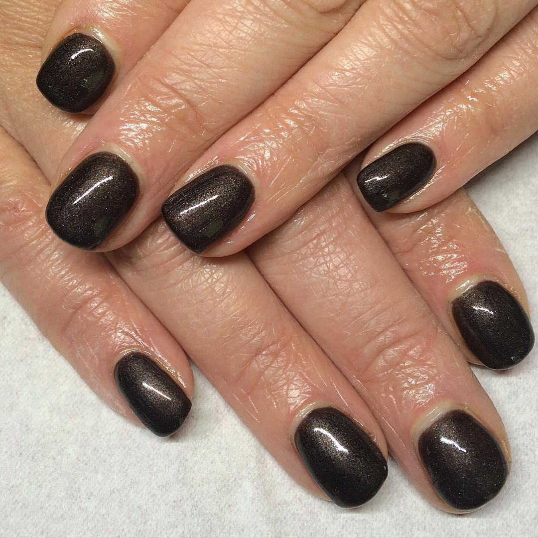 Brown Nails in Dark Color