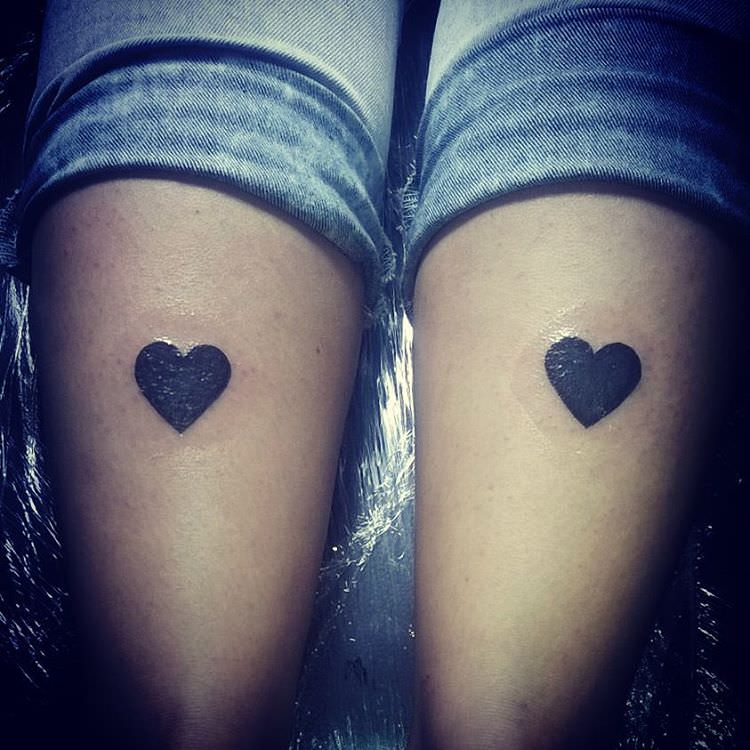 Black Heart Tattoo On Legs