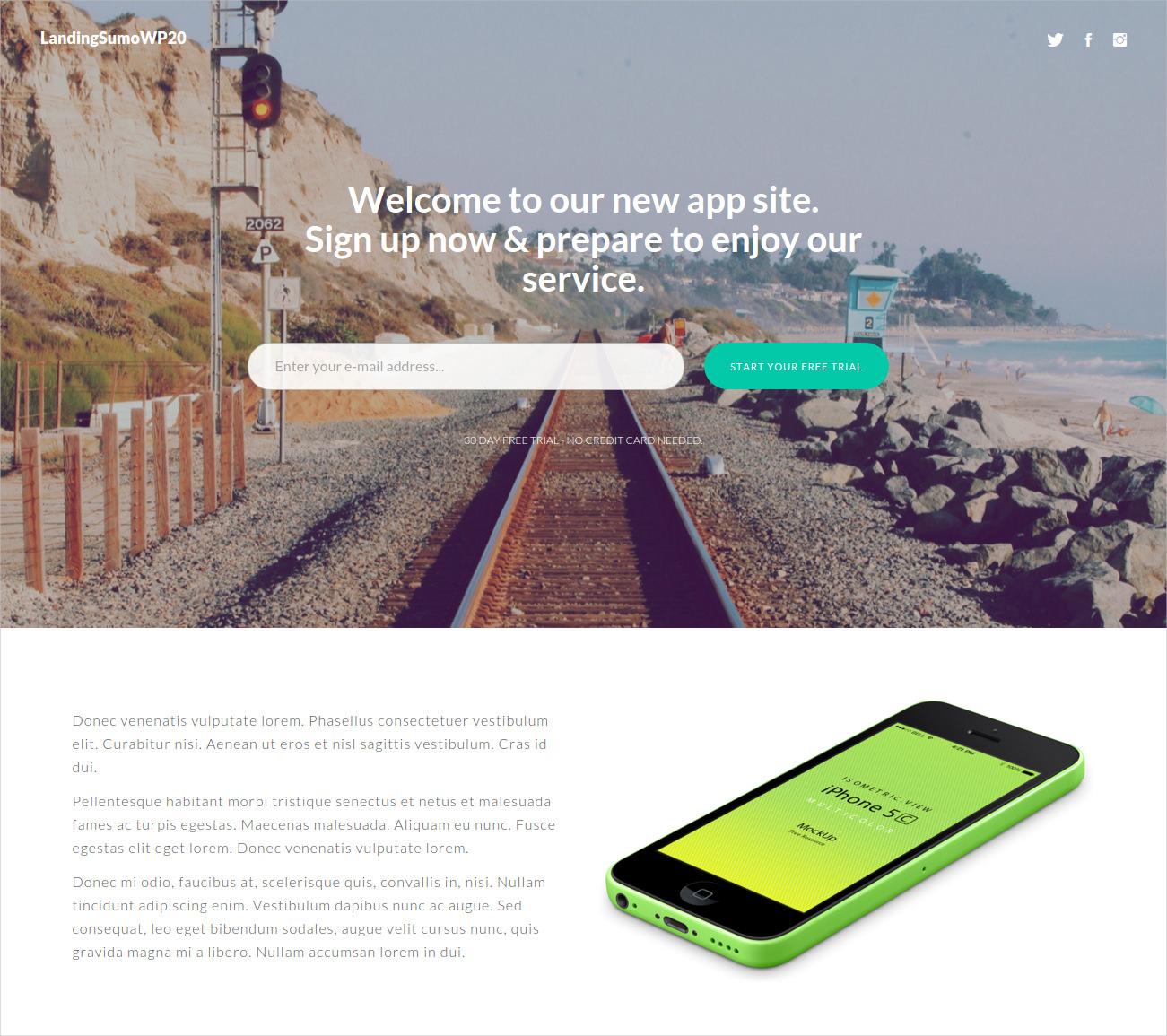 Bootstrap Landing Page WordPress Theme