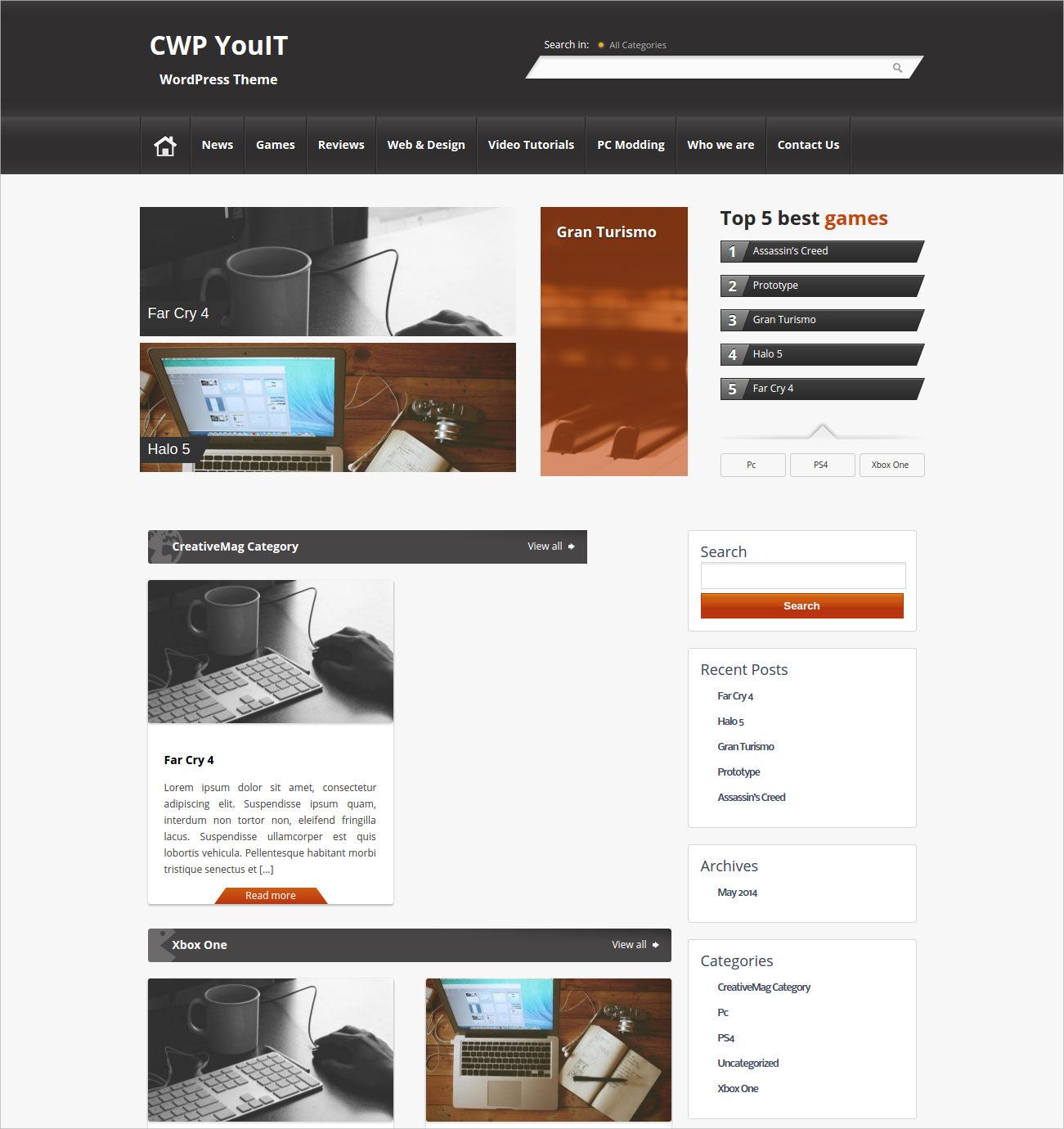 Gaming WordPress Theme