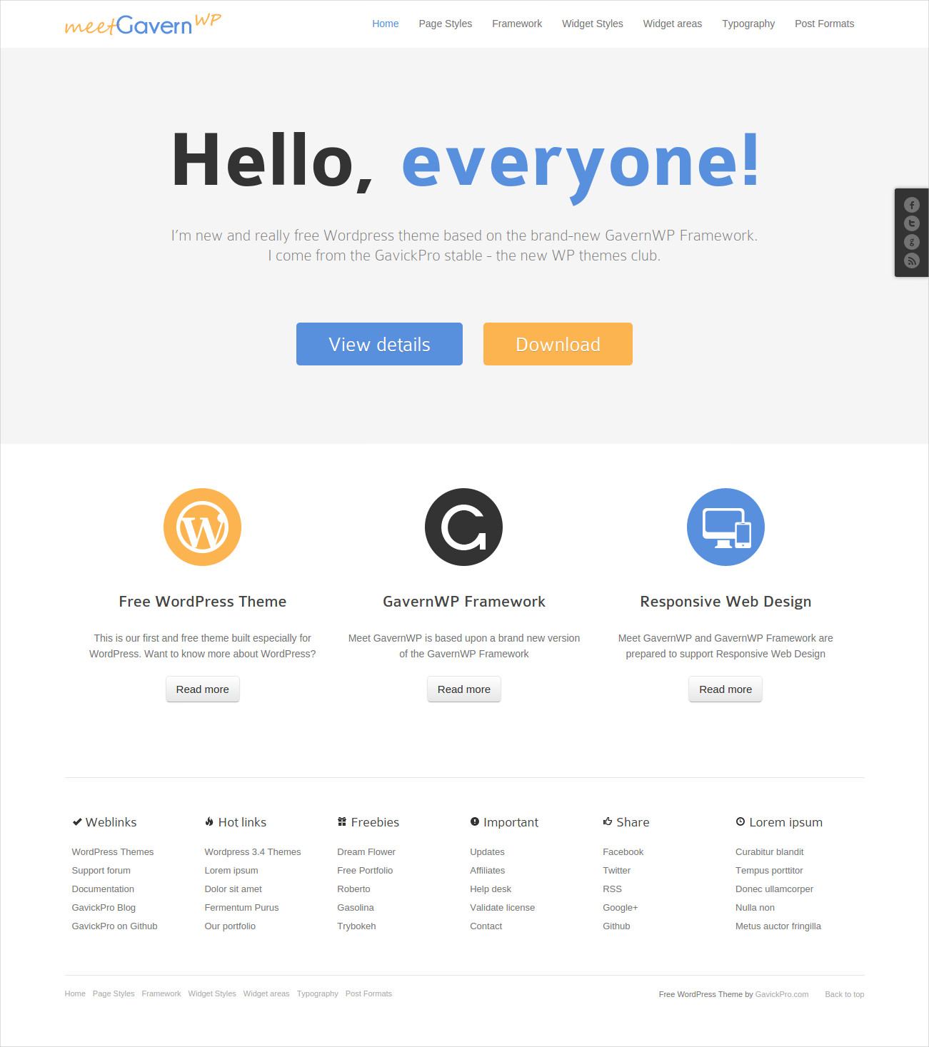 Gavern Free Introductory WP Theme