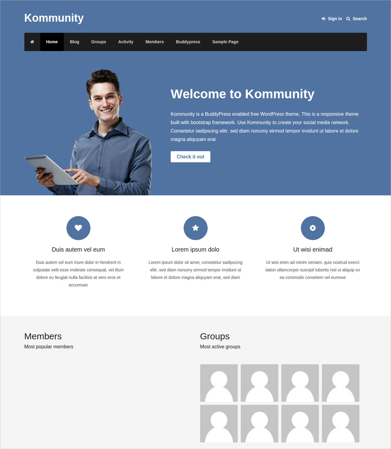 Responsive Theme for Social Network Sites