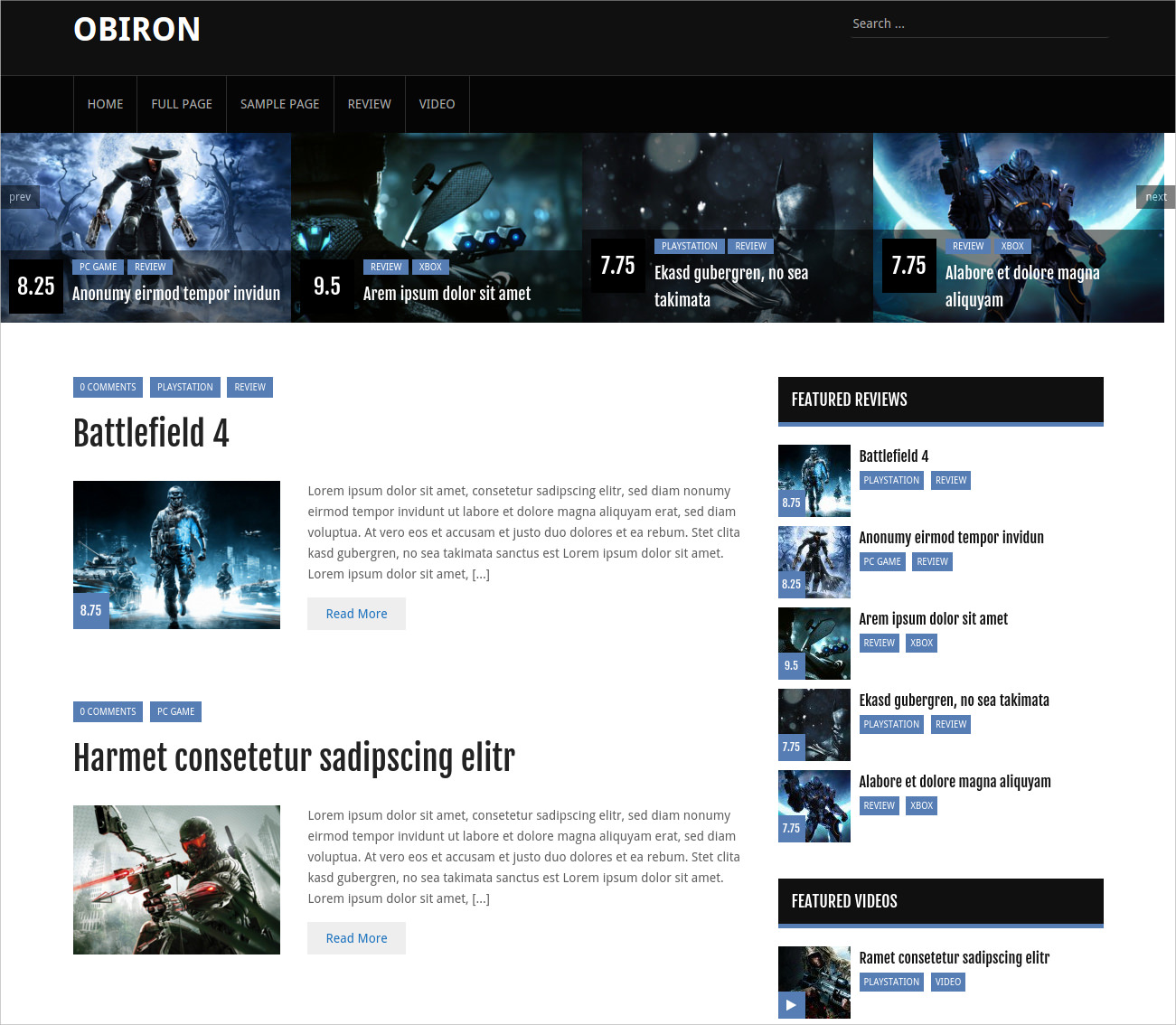 video game blog theme