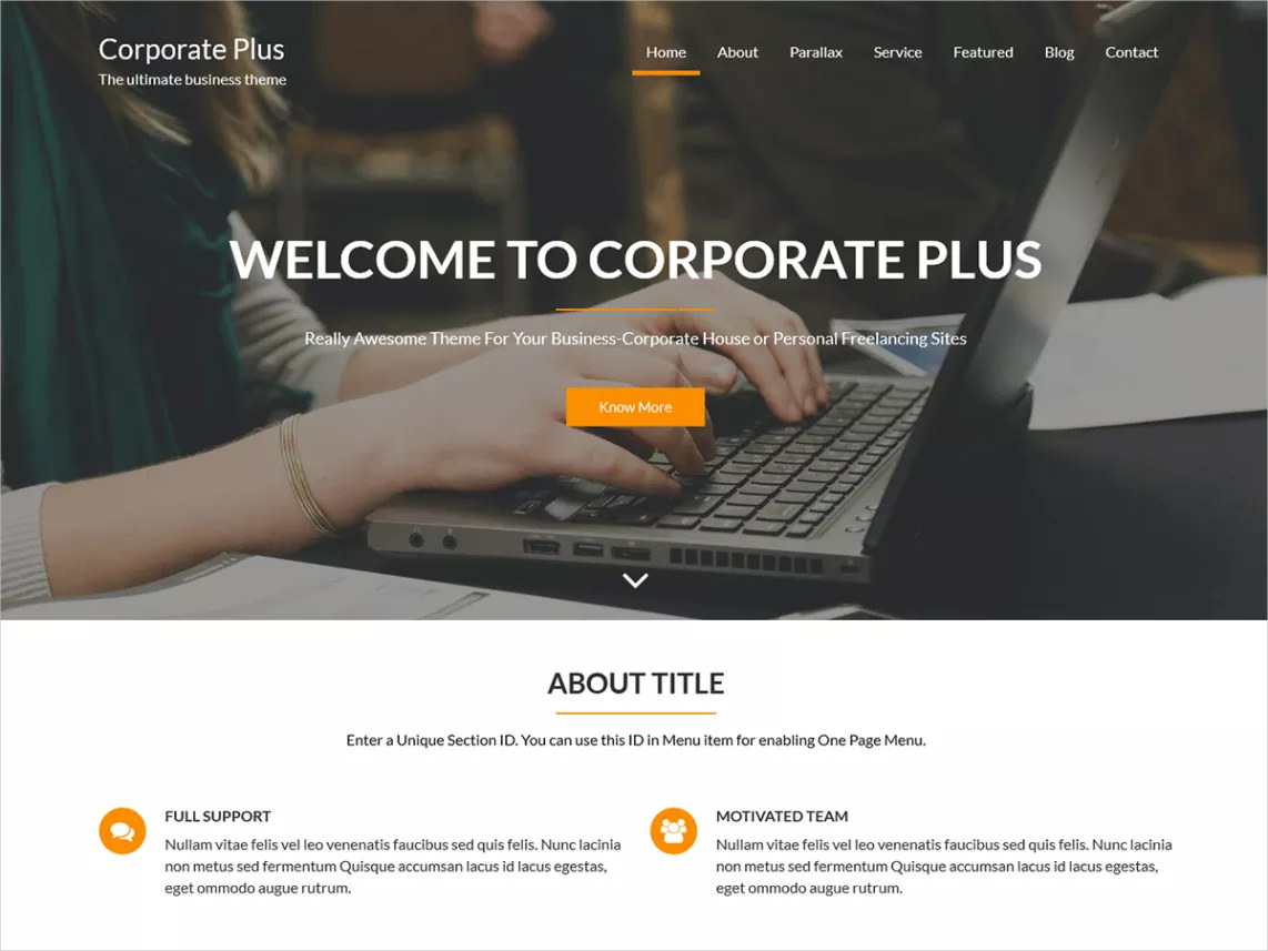 corporate plus wp theme free