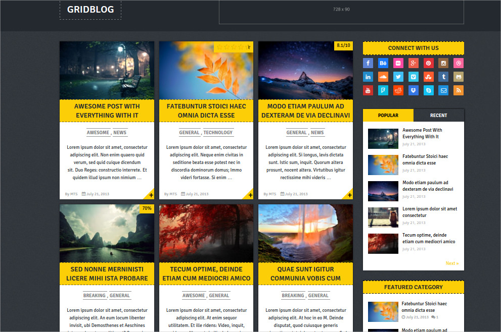 grid blog wp theme free