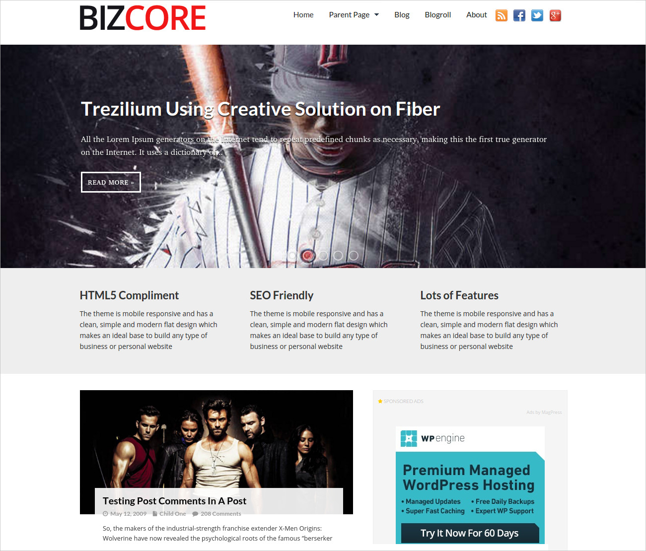 responsive wp business theme free