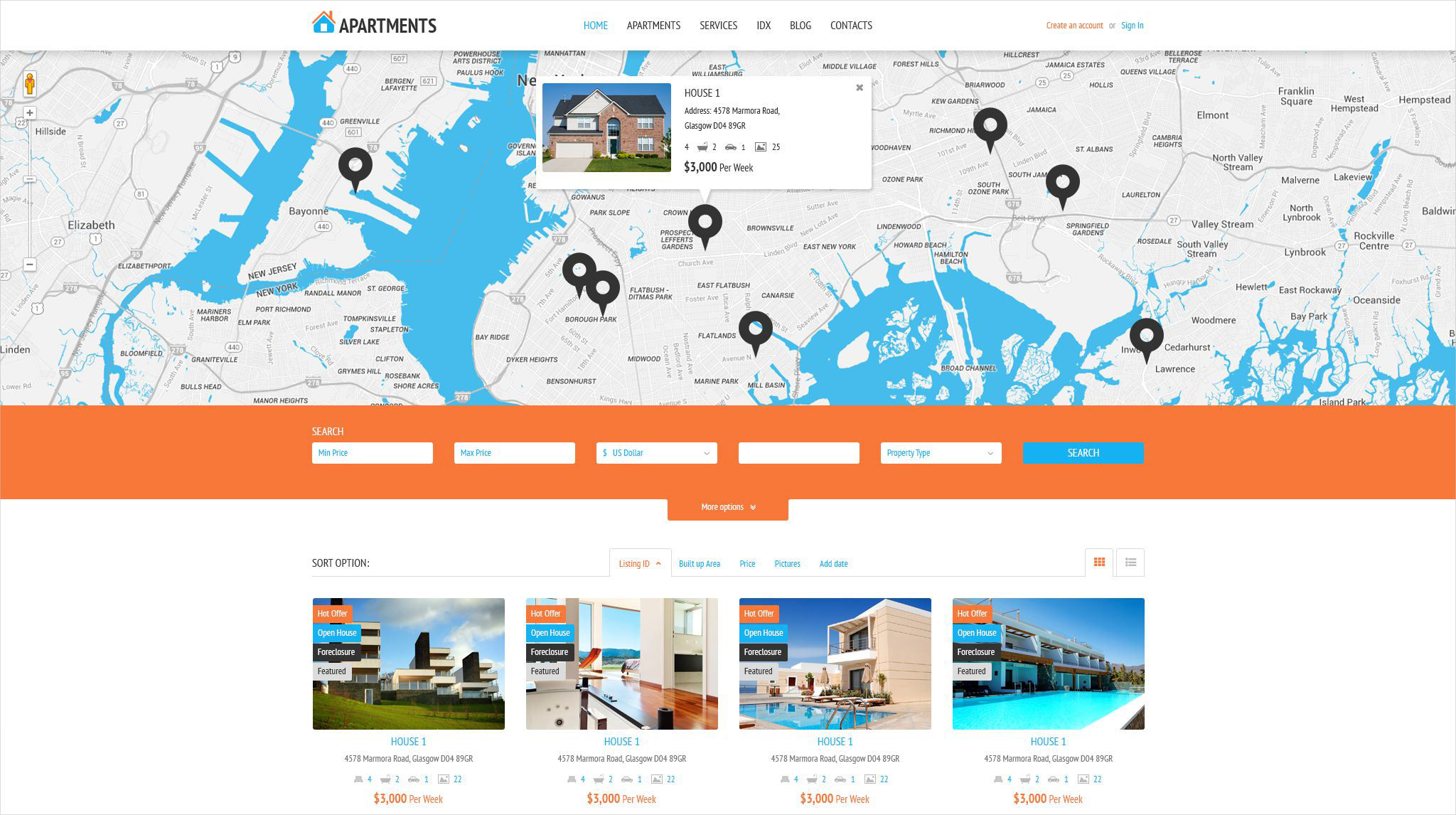 Apartments Rent Agency WordPress Theme