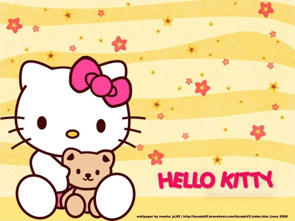 pretty background of hello kitty